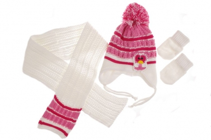 Бебешки Комплект шал, шапка и ръкавици момиче