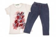 Детски Комплект за момиче тениска с обръщащи се пайети и клин