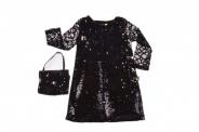 Детска Официална рокля дълъг ръкав с чантичка и обръщащи се пайети