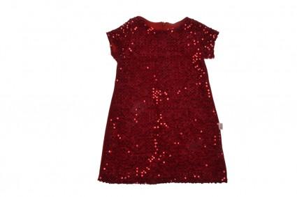 Детска Официална рокля къс ръкав с пайети