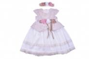 Детска Официална рокля къс ръкав с лента