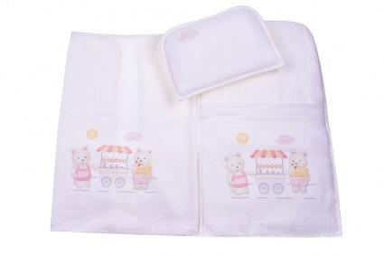 Бебешки Комплект за количка с възглавница и пелена момиче