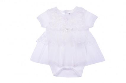 Бебешко Боди рокля с тюл къс ръкав
