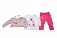 Бебешки Комплект дълъг ръкав момиче 3 части с фиби