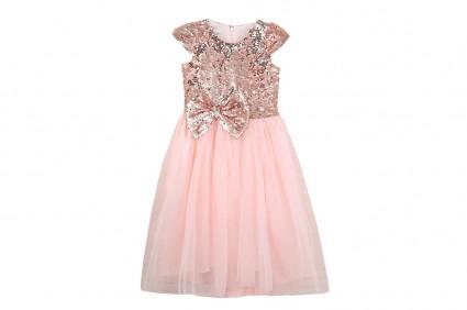 Детска Официална рокля къс ръкав с тюл