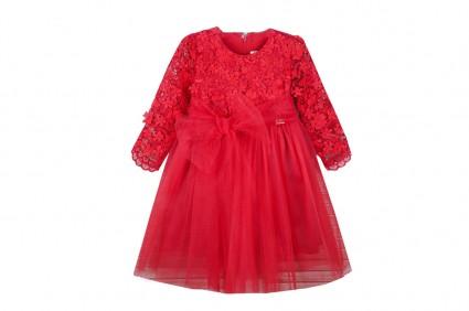 Детска Официална рокля дълъг ръкав с тюл
