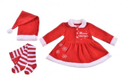 Бебешка Коледна рокля дълъг ръкав с шапка и чорапогащник