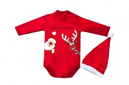 Детско Коледно боди дълъг ръкав с шапка