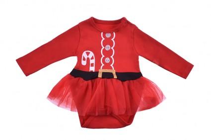 Бебешка Коледна боди рокля дълъг ръкав