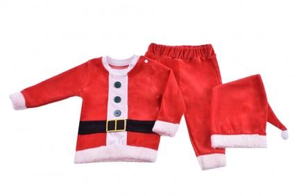 Бебешки Коледен комплект дълъг ръкав с шапка