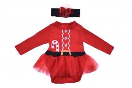 Детска Коледна боди рокля дълъг ръкав с лента за коса