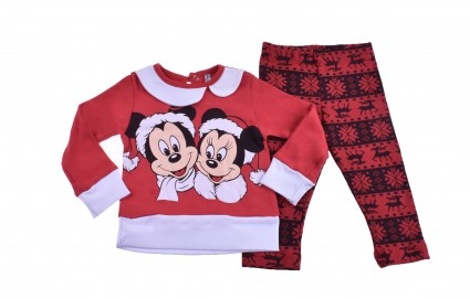 Коледен комплект дълъг ръкав момиче - Mickey and Minnie Mouse - Детски Дрехи