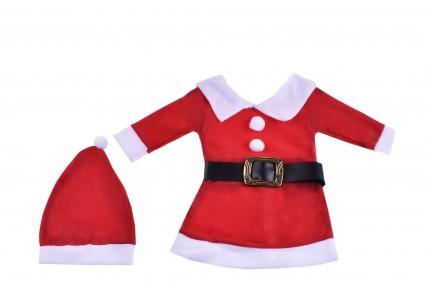 Коледна рокля дълъг ръкав с шапка  - Детски Дрехи
