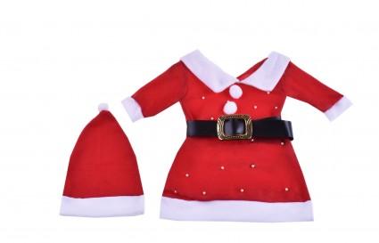 Детска Коледна рокля дълъг ръкав с шапка