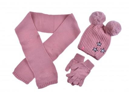 Детски Комплект с шапка, шал и ръкавици момиче