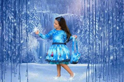 Детска Рокля дълъг ръкав с чантичка Елза и Анна - Frozen