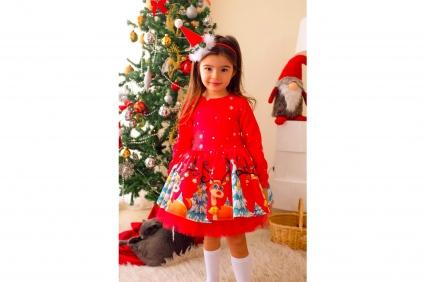 Детска Коледна рокля дълъг ръкав