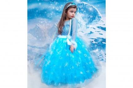 Детска Рокля дълъг ръкав с диадема Елза - Frozen