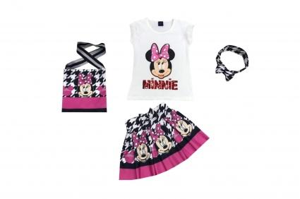 Детски Комплект къс ръкав момиче с чантичка и лента за коса - Mickey Mouse