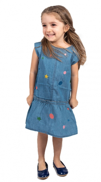 Детска Дънкова рокля къс ръкав