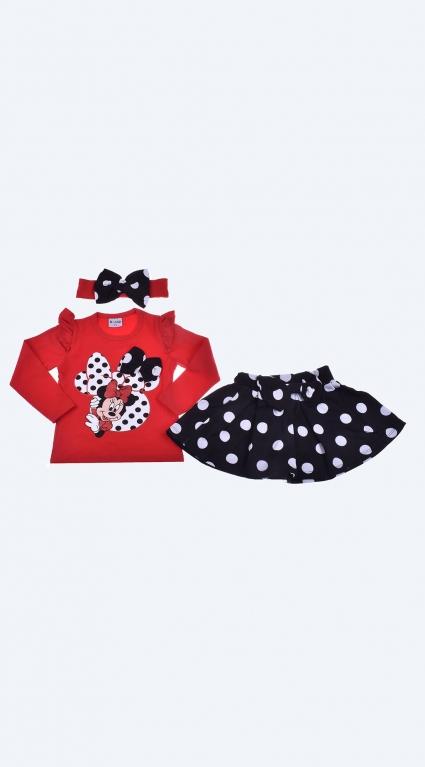 Бебешки Комплект дълъг ръкав с пола - Minnie Mouse