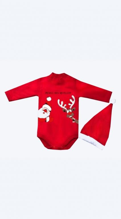 Бебешко Коледно боди дълъг ръкав с шапка