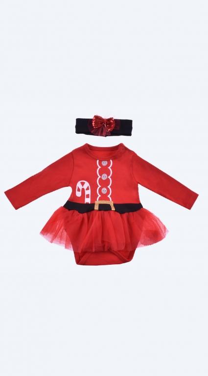Бебешка Коледна боди рокля дълъг ръкав с лента за коса