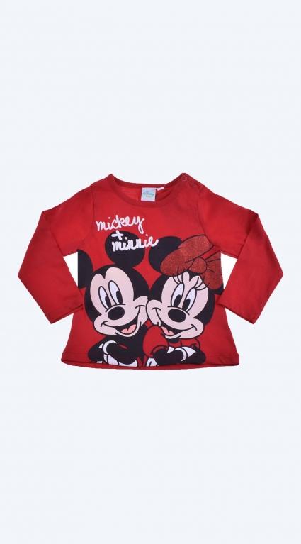 Бебешка Блуза момиче дълъг ръкав - Mickey and Minnie Mouse