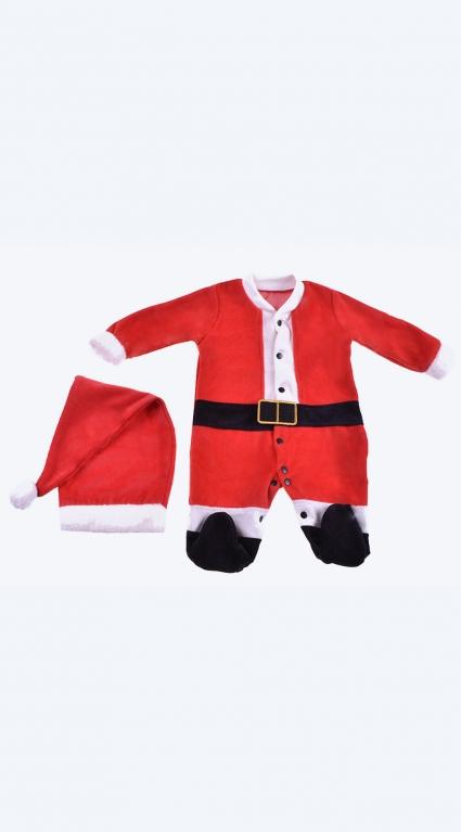Коледен гащеризон дълъг ръкав с шапка