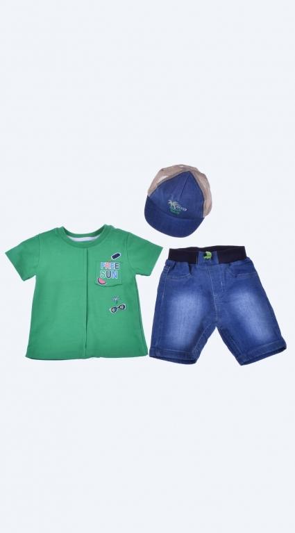 Бебешки Комплект къс ръкав момче с шапка