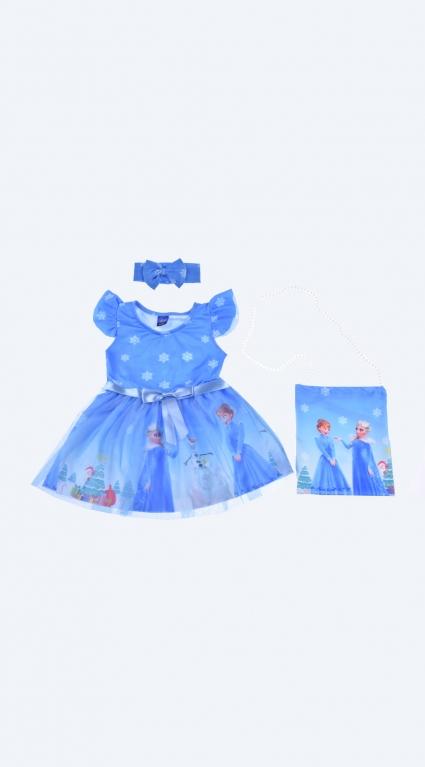 Детска Рокля къс ръкав с лента за коса и чантичка - Елза и Анна