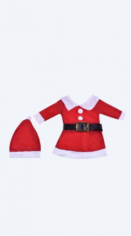 Бебешка Коледна рокля дълъг ръкав с шапка