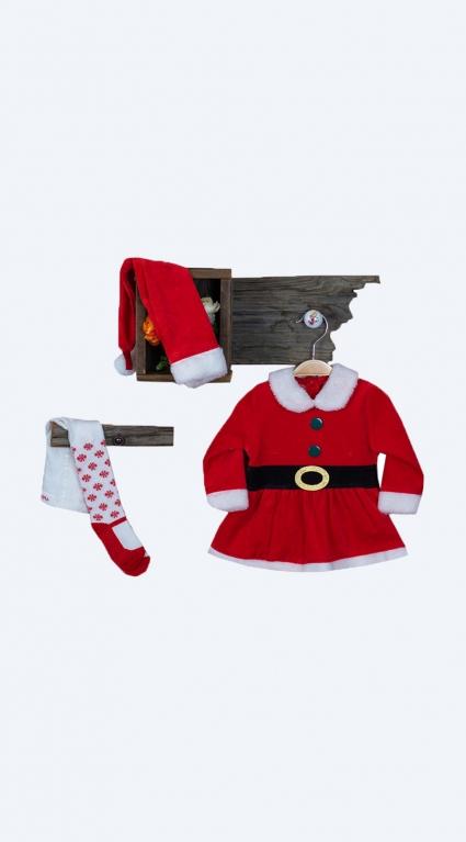Рокля дълъг ръкав с чорапогащник и шапка Коледа
