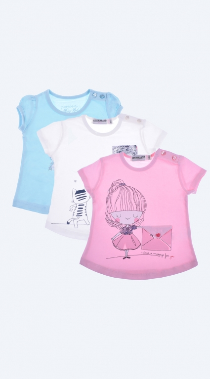 Детска Тениска за момиче 3 броя Girls