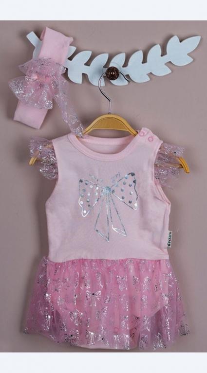 Бебешко Боди рокля с лента за коса Baby Girl