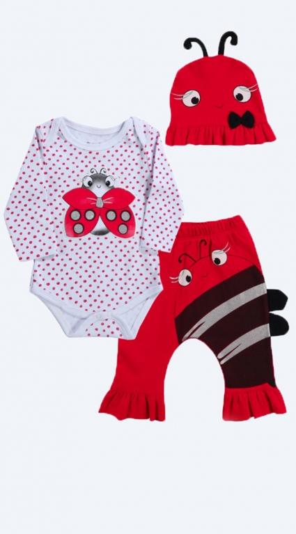 Детски Комплект дълъг ръкав момиче 3 части Baby Girl