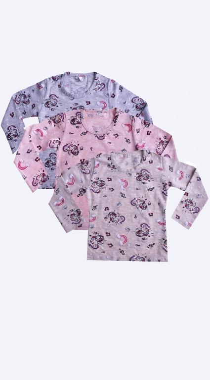 Бебешка Блуза дълъг ръкав за момиче 3 броя