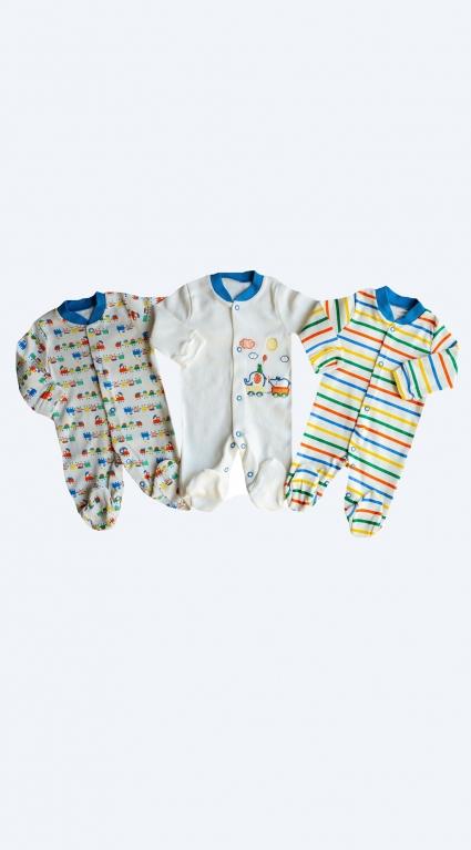 Бебешки Гащеризон дълъг ръкав за момче 3 броя - Baby Boy