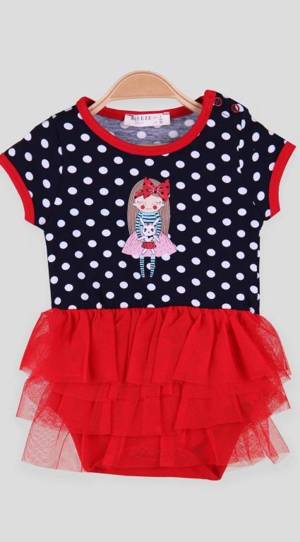 Детско Боди рокля с тюл къс ръкав