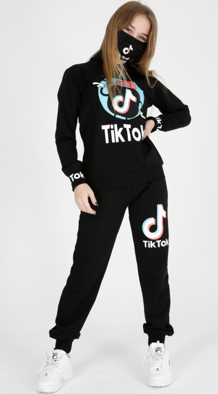 Детски Комплект дълъг ръкав момиче с маска - Tik Tok