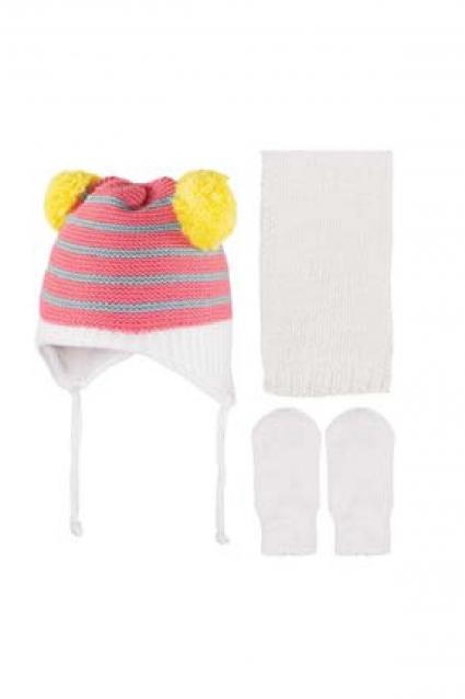 Бебешки Комплект с шапка, шал и ръкавици момиче