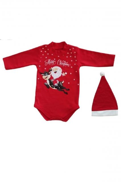 Бебешко Боди дълъг ръкав Коледа с шапка