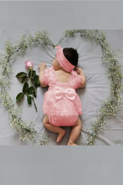 Бебешко Боди къс ръкав с лента