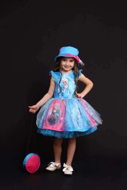 Детска Официална рокля с чантичка и шапка Frozen