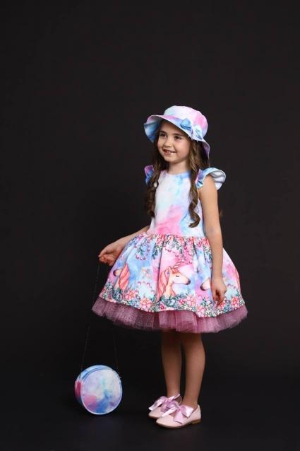 Детска Официална рокля с чантичка и шапка Еднорог