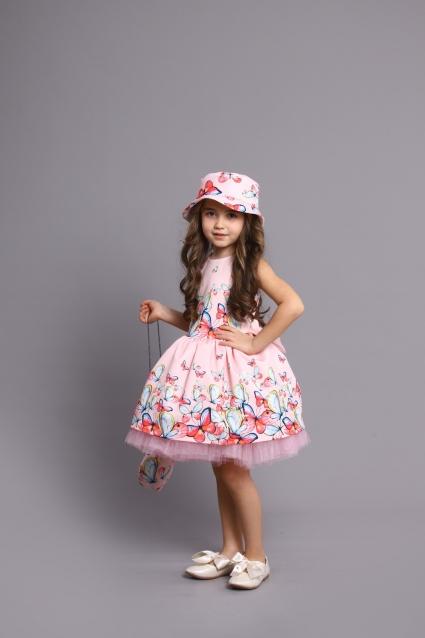Детска Официална рокля с чантичка и шапка Пеперудка