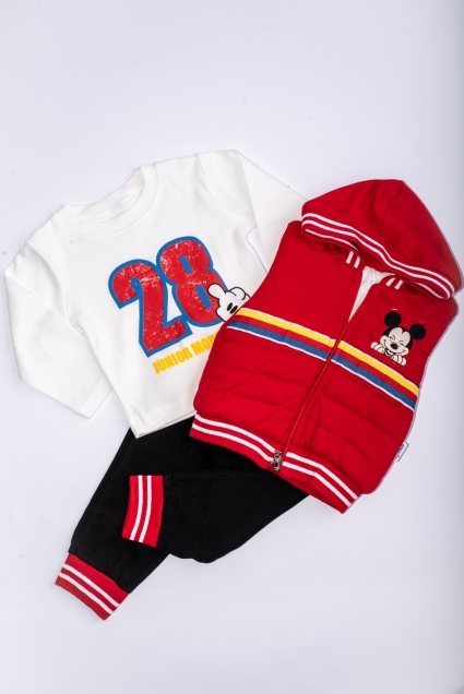Детски Комплект момче дълъг ръкав 3 части Мики Маус