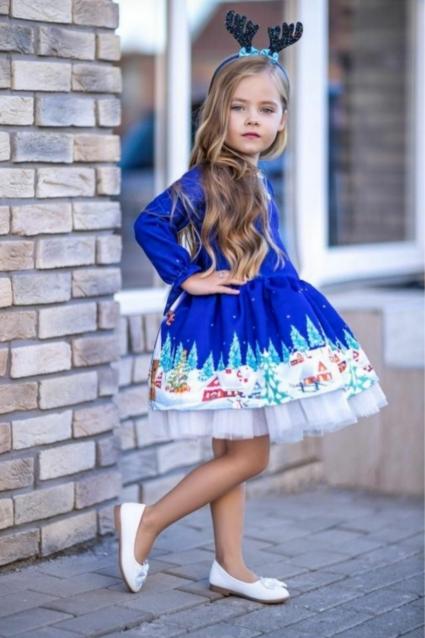 Детска Официална рокля Коледа с диадема и фиба